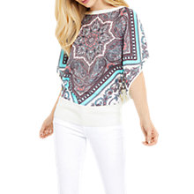 Buy Oasis Scarf Placement Woven Knit Top, Off White/Multi Online at johnlewis.com