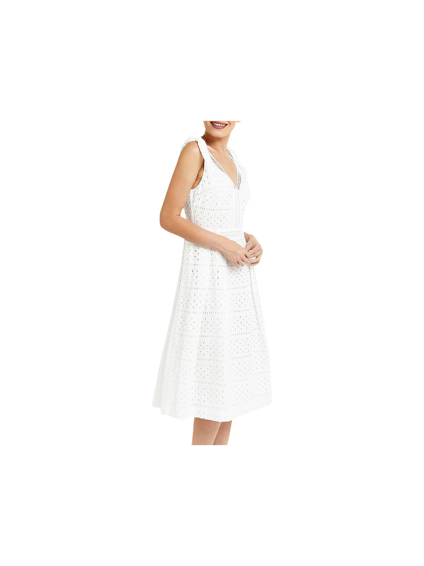 a9f7d20dabca Buy Oasis Broiderie Midi Dress, White, 6 Online at johnlewis.com ...