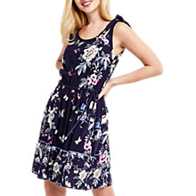 Buy Oasis Papillon Tie Shoulder Skater Dress, Blue/Multi Online at johnlewis.com
