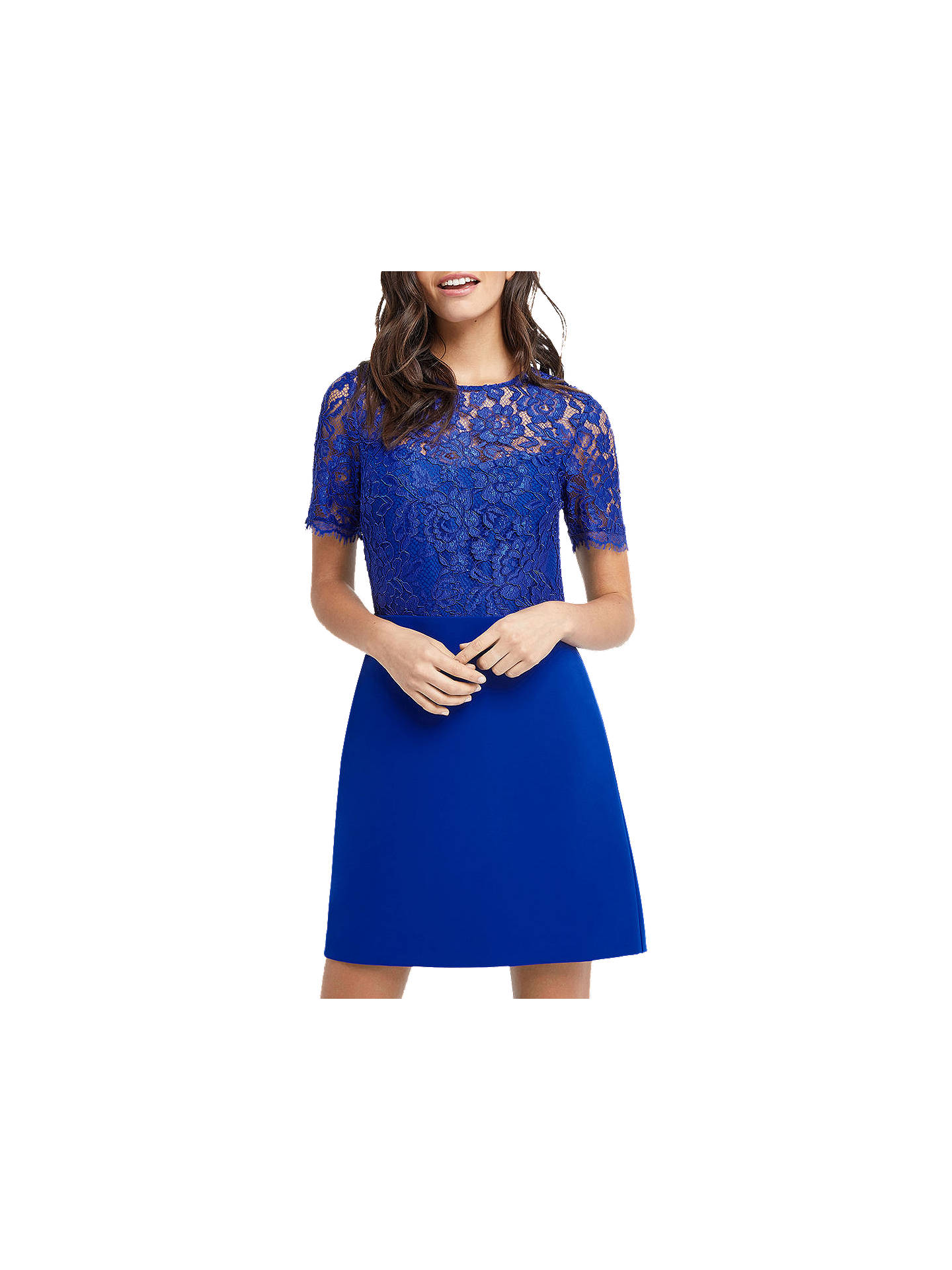 3d70d2e441dc Buy Oasis Lace Bodice Shift Dress, Mid Blue, 6 Online at johnlewis.com ...