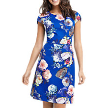 Buy Oasis Rose Short Sleeve Shift Dress, Multi/Blue Online at johnlewis.com