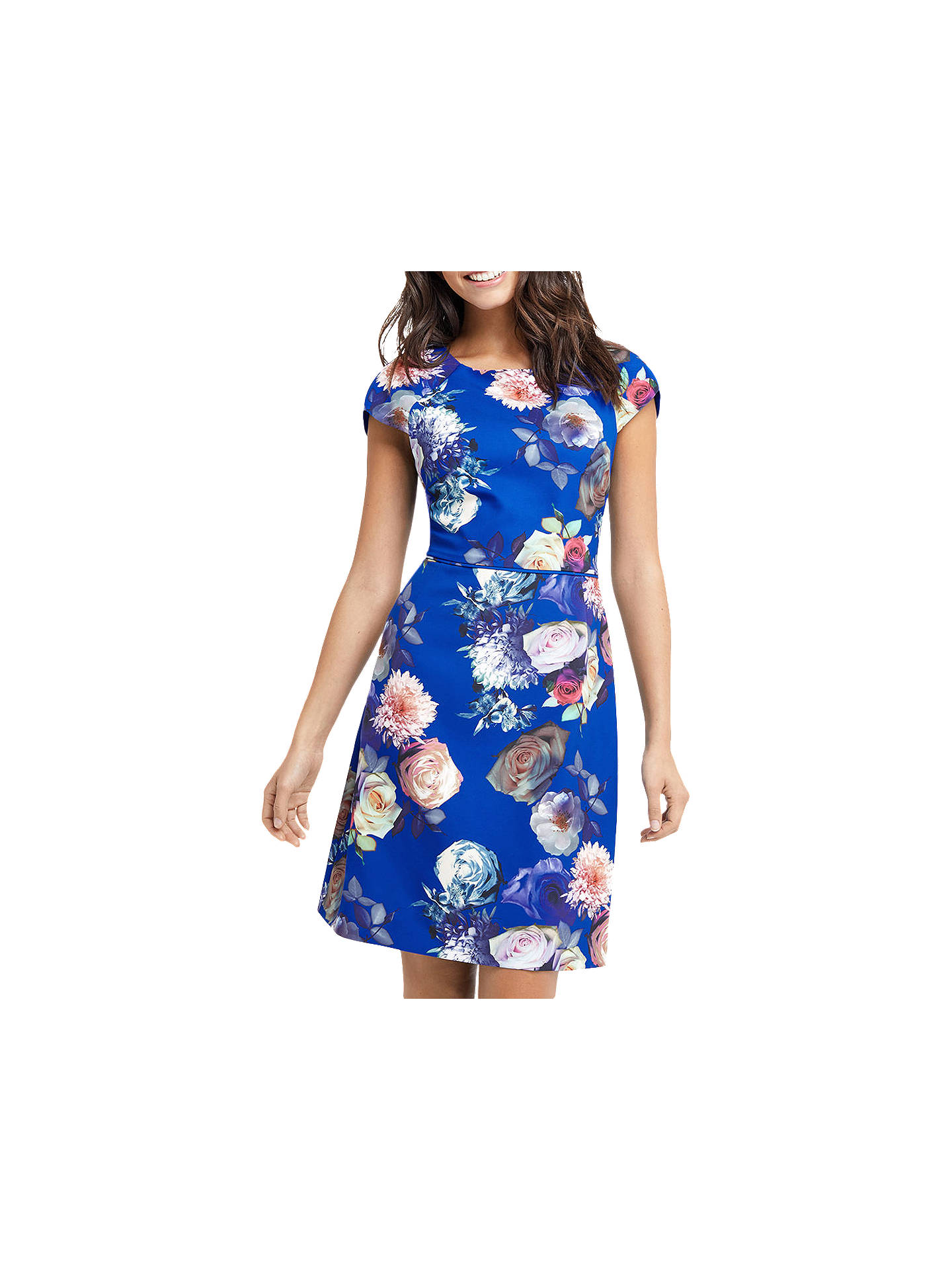 0a77a2626e3a Buy Oasis Rose Short Sleeve Shift Dress, Multi/Blue, 6 Online at johnlewis  ...