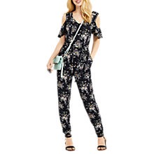 Buy Oasis Shipwrecked Wrap Jumpsuit, Black/Multi Online at johnlewis.com