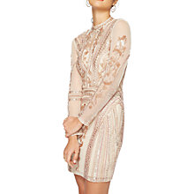 Buy Miss Selfridge Long Sleeve Keyhole Dress, Nude Online at johnlewis.com