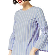 Buy Warehouse Stripe Flared Cuff Top, Blue Stripe Online at johnlewis.com