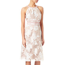 Buy Adrianna Papell Petite Halter Neck Print Dress, Peach/Ivory Online at johnlewis.com