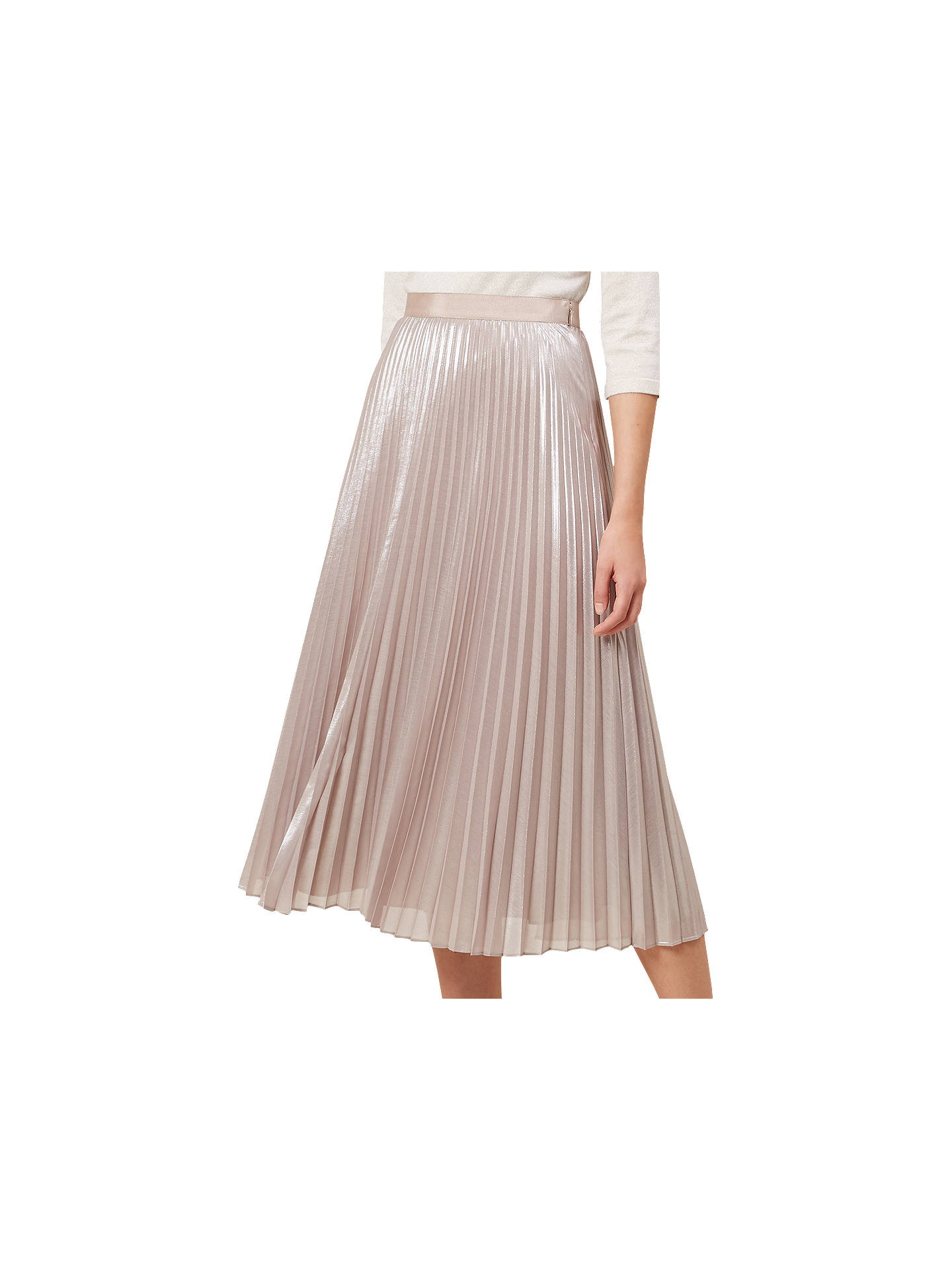 Buy Hobbs Jade Skirt, Oyster Gold, 6 Online at johnlewis.com