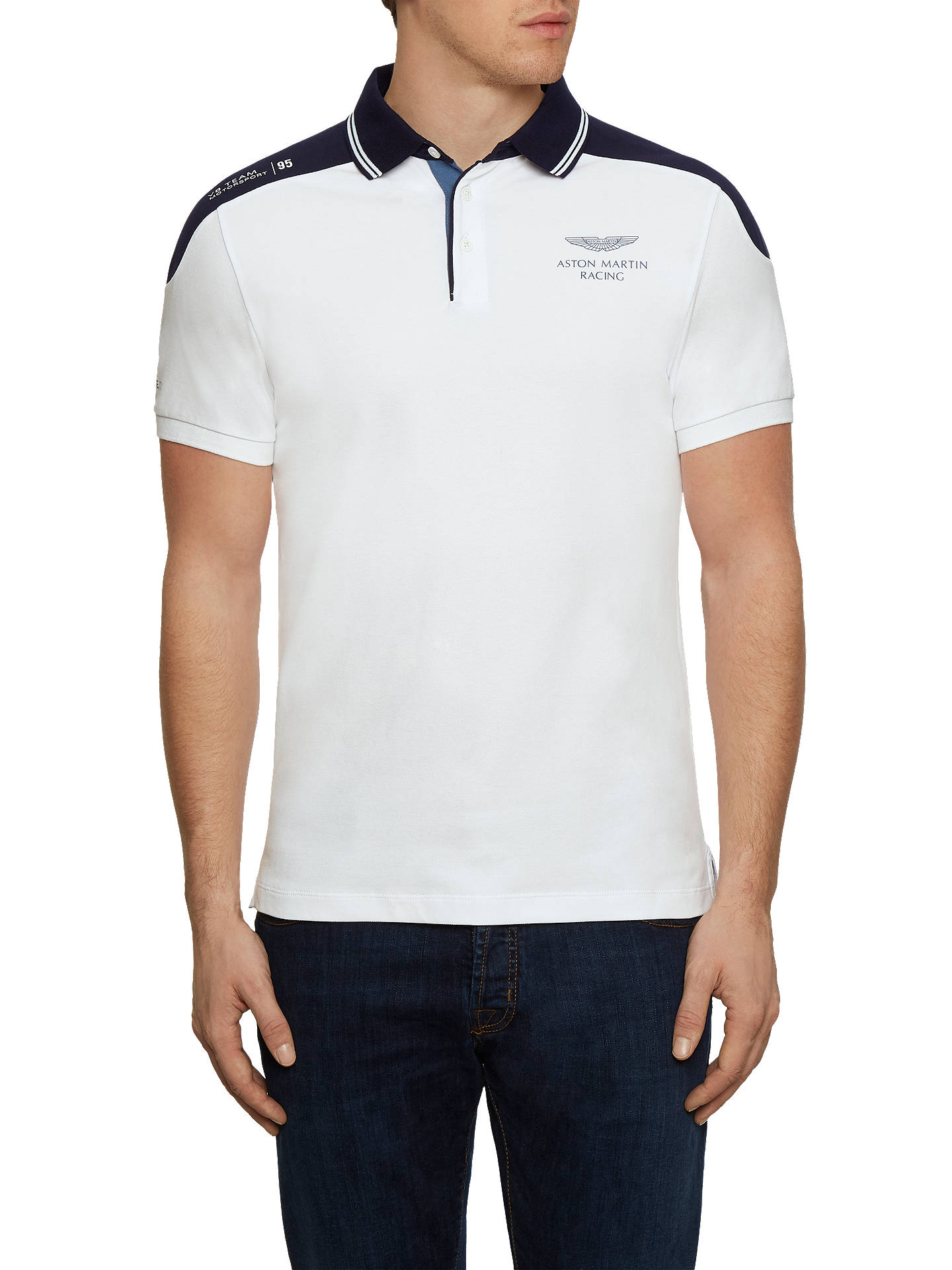 95884665 Buy Hackett London Aston Martin Racing Shoulder Panel Polo Shirt, White, S  Online at ...