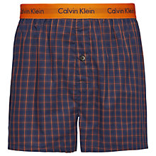 Buy Calvin Klein Cary Plaid Slim Fit Boxers, Navy Online at johnlewis.com