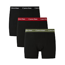Buy Calvin Klein Contrast Waistband Trunks, Pack of 3 Online at johnlewis.com