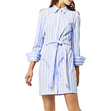 Buy Warehouse Striped Button Shirt Dress, Blue/White Online at johnlewis.com