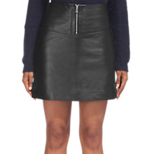 Buy Whistles Jessie Leather A-Line Skirt, Black Online at johnlewis.com
