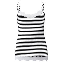 Buy Pure Collection Lace Jersey Camisole, Black/White Online at johnlewis.com
