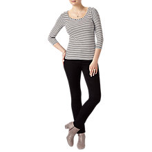 Buy Pure Collection Soft Jersey Scoop Neck T-Shirt, Black Online at johnlewis.com