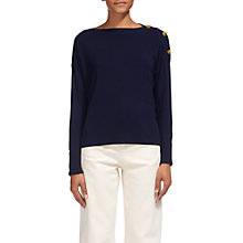 Buy Whistles Side Button Relaxed Knit Jumper, Navy Online at johnlewis.com