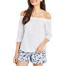 Buy Oasis Cotton Long Sleeve Bardot Top, White Online at johnlewis.com