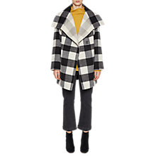 Buy French Connection Jackie Checked Wide Collar Coat, Black Online at johnlewis.com
