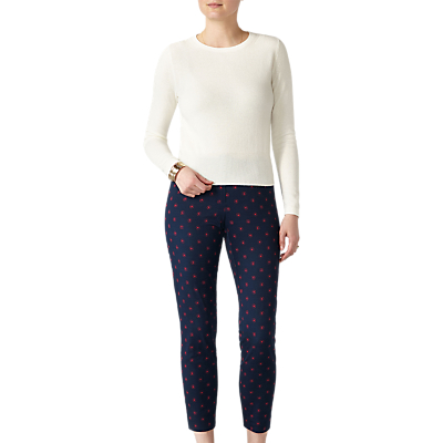 Pure Collection Capri Trousers, Navy Floral Mosaic