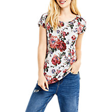Buy Oasis Rose Print T-Shirt, Multi Online at johnlewis.com