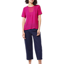 Buy Warehouse V Detail Woven T-Shirt, Fuchsia Online at johnlewis.com