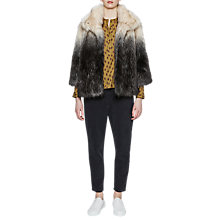 Buy French Connection Johanna Faux Fur Jacket, Silver Stoat/Daisy White Online at johnlewis.com