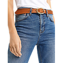 Buy Oasis Leather Oval Buckle Belt, Tan Online at johnlewis.com