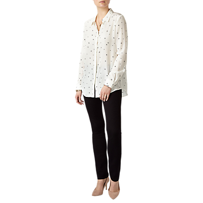 Pure Collection Washed Silk Blouse, White/Black