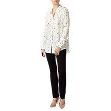 Buy Pure Collection Washed Silk Blouse, White/Black Online at johnlewis.com