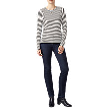 Buy Pure Collection Soft Jersey Crew Neck Top, Black/White Online at johnlewis.com