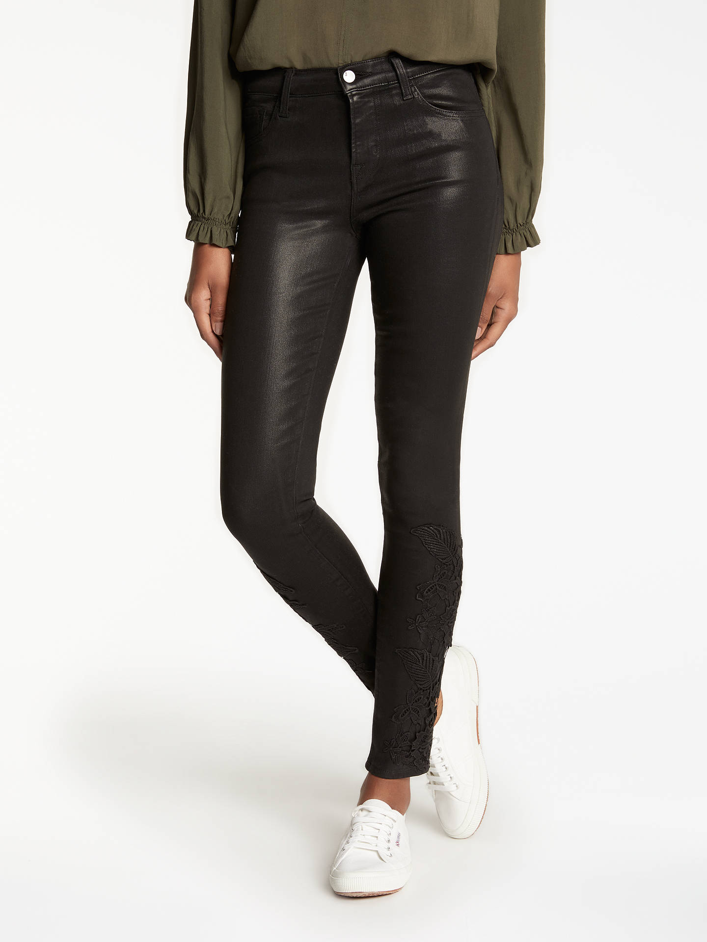 041d9f9ac3f4a Buy J Brand 811 Mid Rise Skinny Coated Jeans, Coated Black Lace, 24 Online  ...