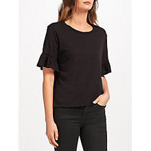 Buy Velvet by Graham & Spencer Rielle Cotton Slub Ruffle Sleeve Top, Black Online at johnlewis.com