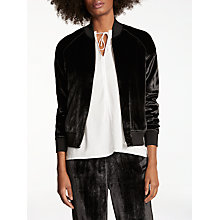 Buy J Brand Pace Velvet Bomber Jacket, Black Online at johnlewis.com