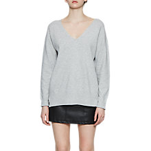 Buy French Connection Della Vhari V-Neck Jumper, Light Mel Grey Online at johnlewis.com