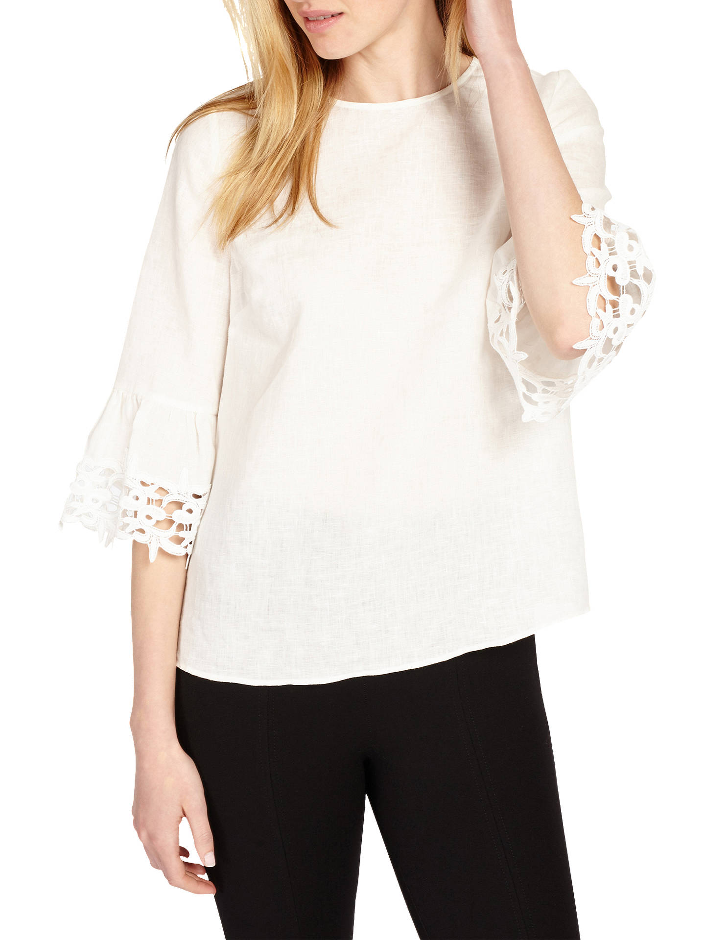 d057367e77a Buy Phase Eight Tabbie Lace Cuff Blouse, Ivory, 8 Online at johnlewis.com  ...