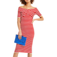 Buy Oasis Bardot Wrap Style Dress, Red/White Online at johnlewis.com