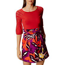 Buy Karen Millen Pointelle Fluted Knit Top, Red Online at johnlewis.com