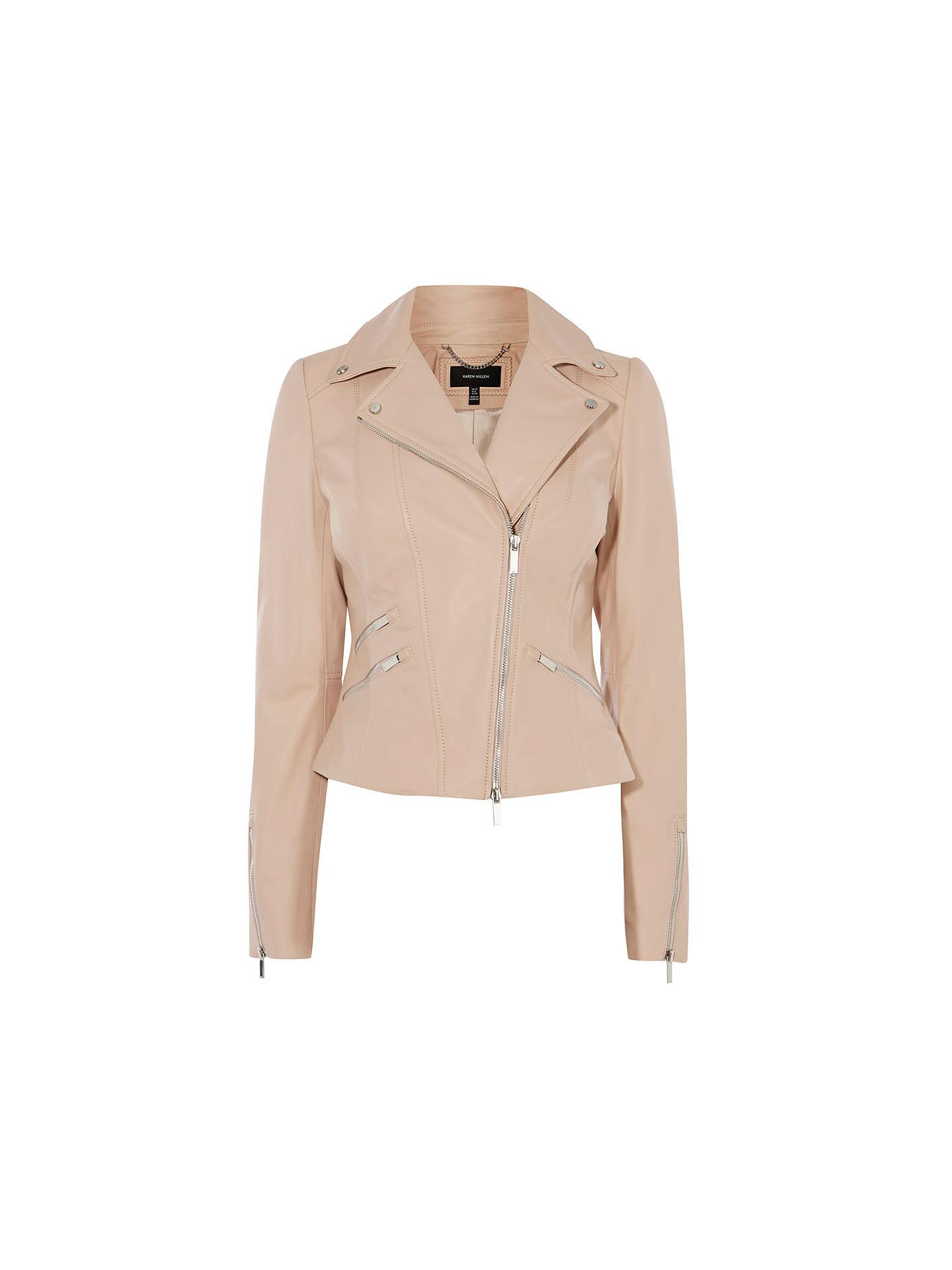 db997b6ee Karen Millen Summer Leather Jacket, Pale Pink at John Lewis & Partners