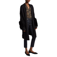 Buy French Connection Lilou Fur Long Sleeved Knit Cardigan, Black/Black Online at johnlewis.com