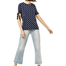 Buy Warehouse Swan Print T-Shirt, Blue Online at johnlewis.com