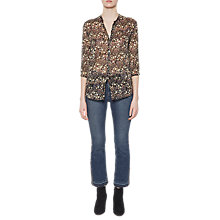 Buy French Connection Hallie Crinkle Long Sleeve Blouse, Black Online at johnlewis.com