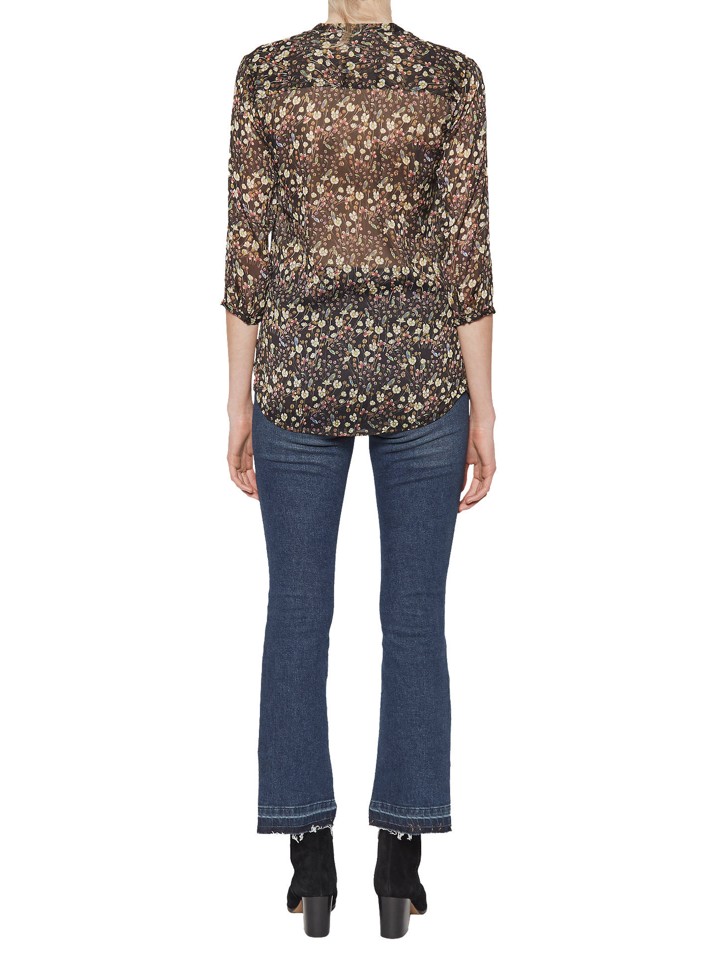 66c43991 Buy French Connection Hallie Crinkle Long Sleeve Blouse, Black, 6 Online at  johnlewis.