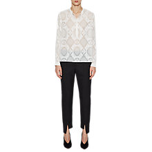 Buy French Connection Edna Fil De Coupe Collarless Shirt, Winter White Online at johnlewis.com