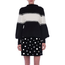 Buy French Connection Sofia Blouson Sleeve High Neck Jumper, Black/Winter White Online at johnlewis.com