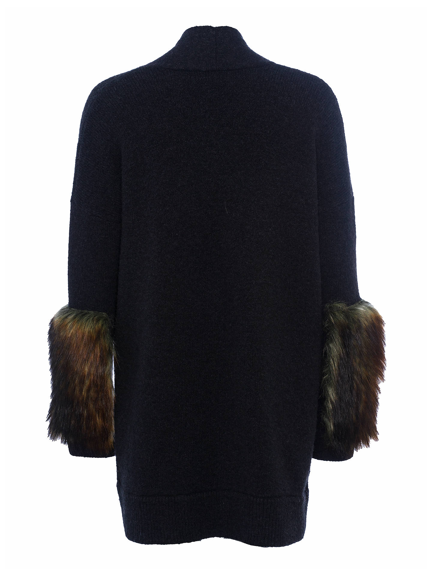 Buy French Connection Lilou Faux Fur Long Sleeved Knit Cardigan, Black/Brown, XS Online at johnlewis.com
