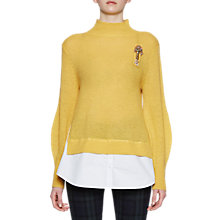 Buy French Connection Ava High Neck Jumper, Bright Yellow/White Online at johnlewis.com