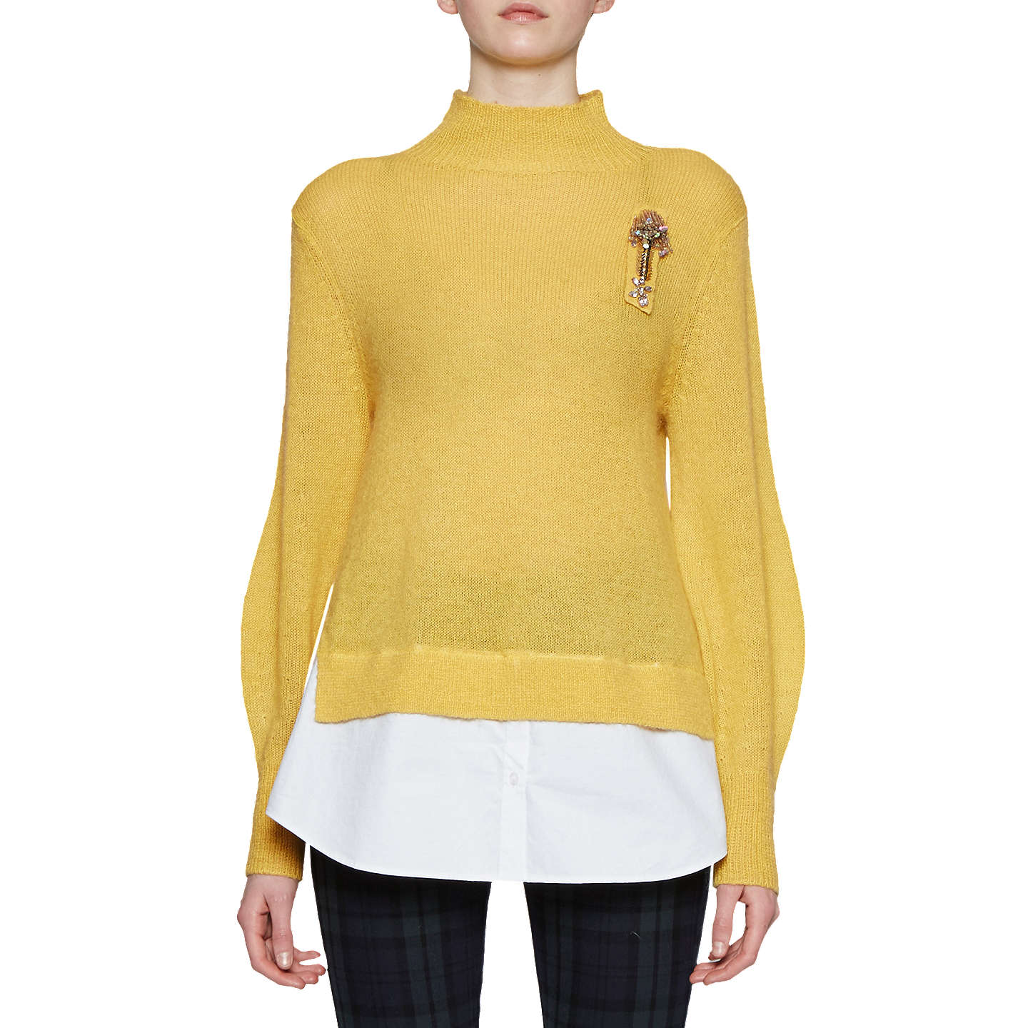 BuyFrench Connection Ava High Neck Jumper, Bright Yellow/White, S Online at johnlewis.com