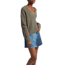 Buy French Connection Merino Wool Textured Tweed V Neck Jumper, Silver Mink Online at johnlewis.com