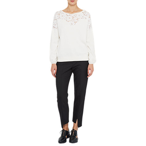 Buy French Connection Lassia Lace Detail Round Neck Jumper, White Online at johnlewis.com