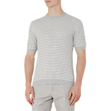 Buy Reiss Marley Knitted Stripe T-Shirt, Soft Grey Online at johnlewis.com