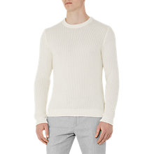 Buy Reiss Pilot Textured Knit Cotton Jumper, Cream Online at johnlewis.com